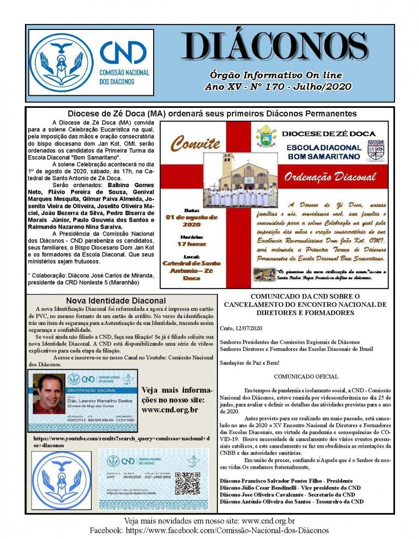 Informativo DIÁCONOS, nº 170 - Julho de 2020