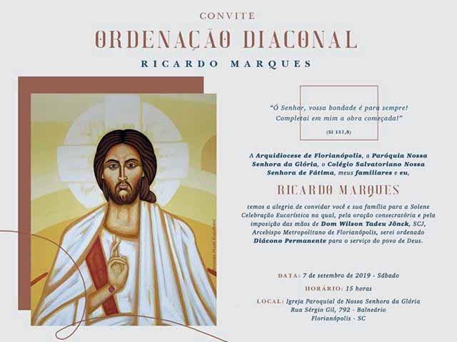 Ricardo Marques será ordenado Diácono Permanente em Florianópolis (SC)