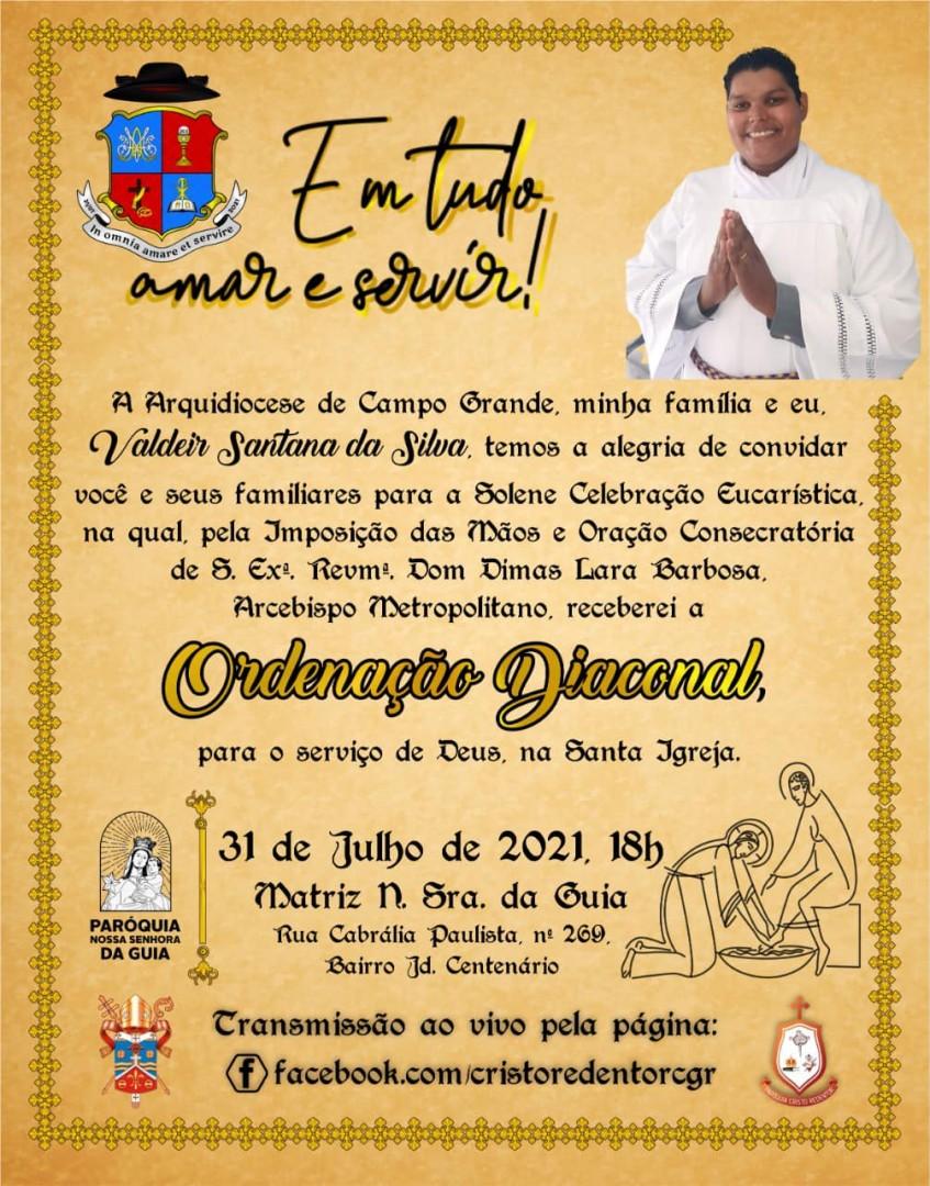 Convite para Ordenação Diaconal da Arquidiocese de Campo Grande (MS)
