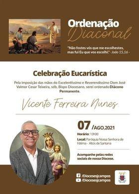 Convite de Ordenação Diaconal permanente da Diocese de São José dos Campos (SP)