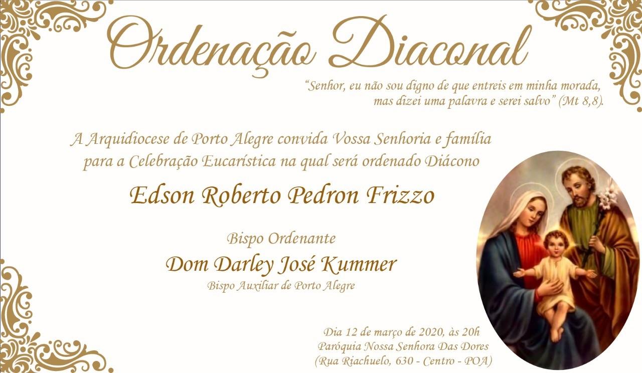 Convite de Ordenação Diaconal da Arquidiocese de Porto Alegre (RS)