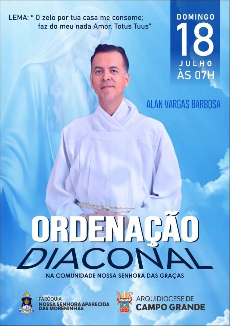 Convite de Ordenação Diaconal da Arquidiocese de Campo Grande (MS)