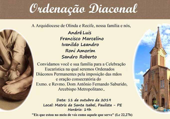 Convite de Ordenação Diaconal da Arquidiocese de Olinda e Recife
