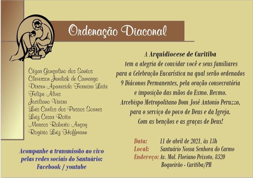 Nove Diáconos Permanentes serão ordenados neste domingo