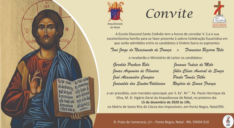 Alunos de Escola Diaconal de Natal serão admitidos à Ordem Sacra e receberão Ministério de Leitor
