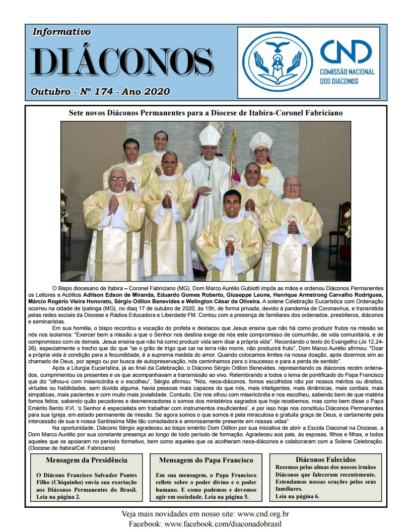 INFORMATIVO DIÁCONOS, Nº 174 - OUTUBRO DE 2020