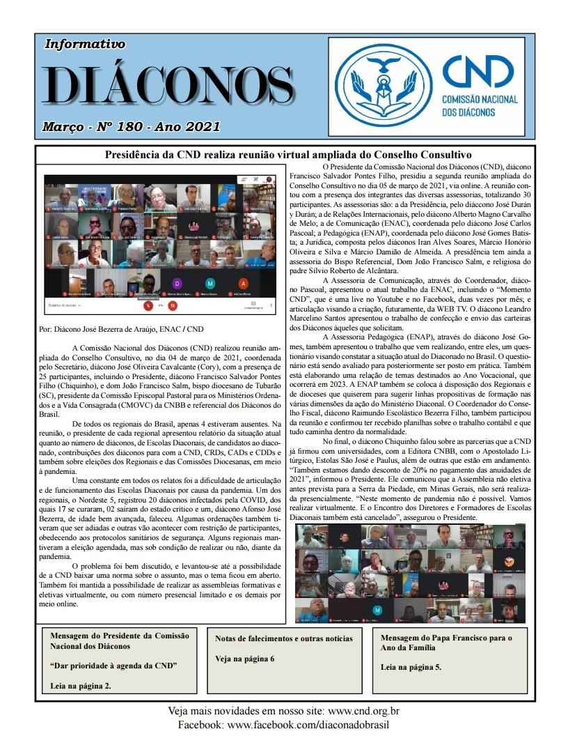 Informativo DIÁCONOS nº 180 - março 2021