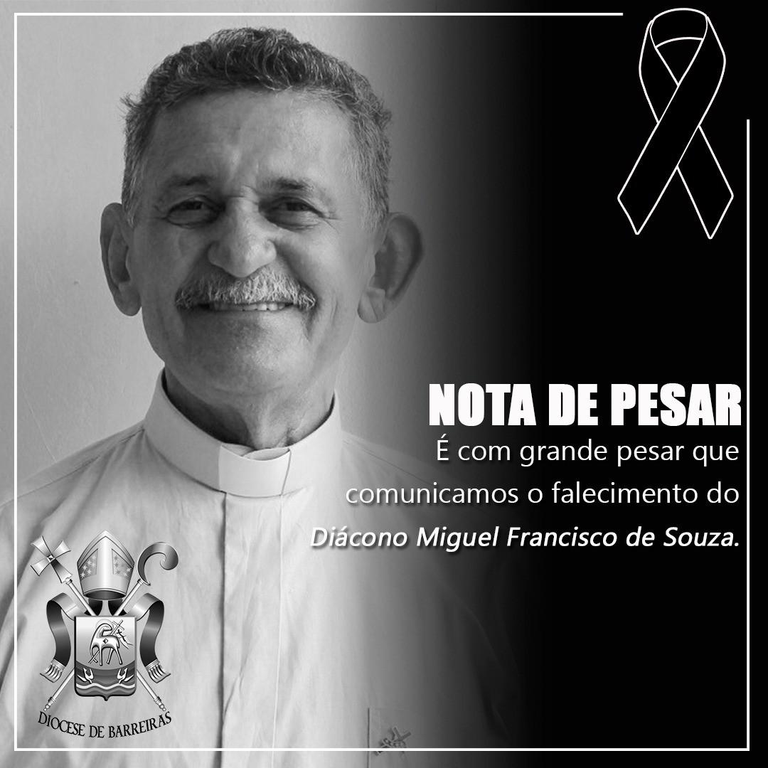 NOTA DE FALECIMENTO - DIÁCONO MIGUEL FRANCISCO DE SOUZA