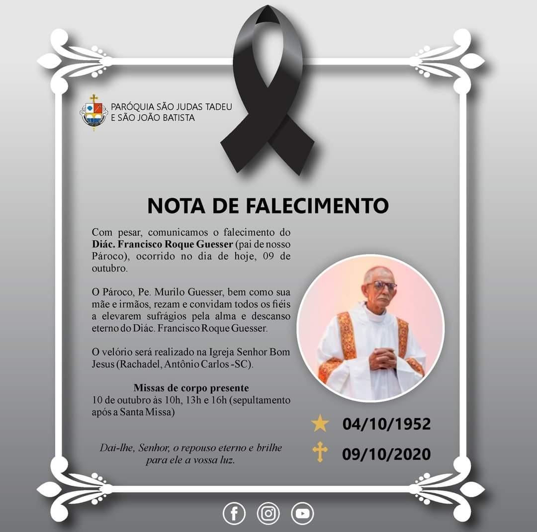 Nota de Falecimento - Diácono Francisco Roque Guesser