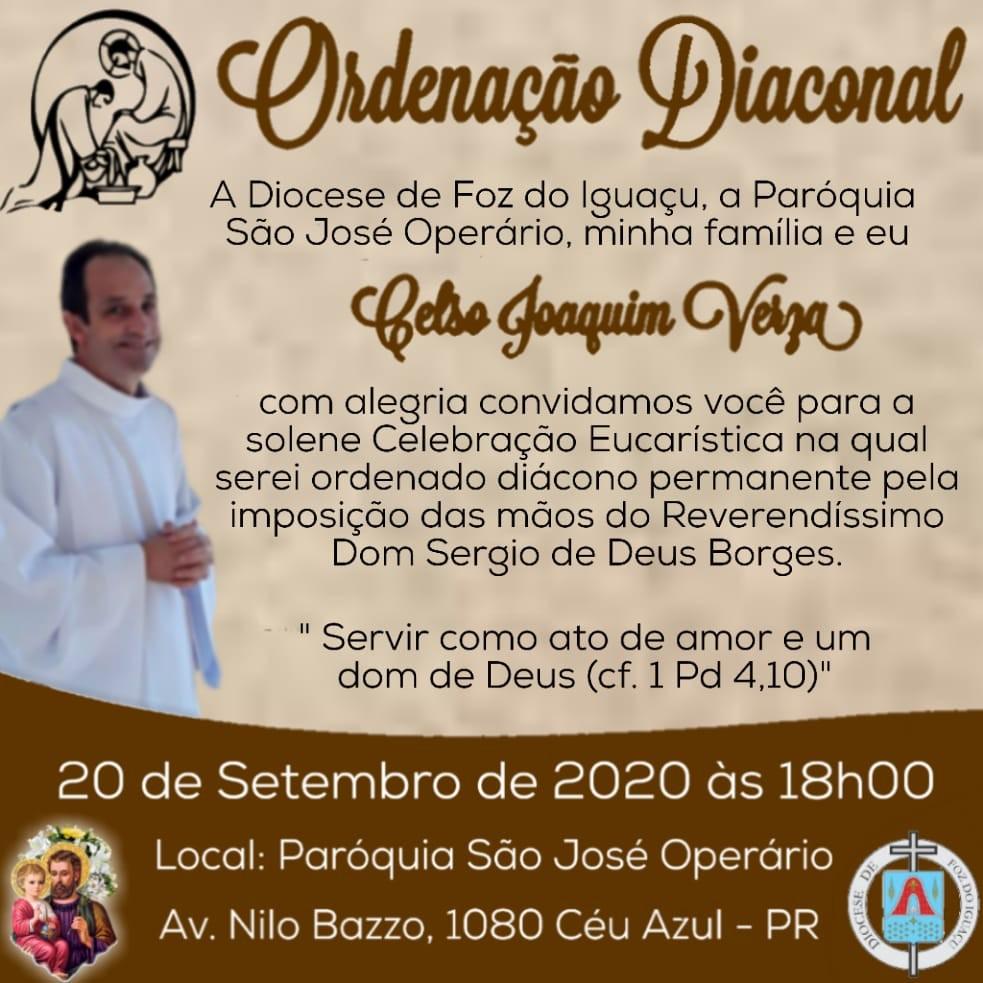 Celso Joaquim Verza será ordenado Diácono Permanente na Diocese de Foz do Iguaçu (PR)