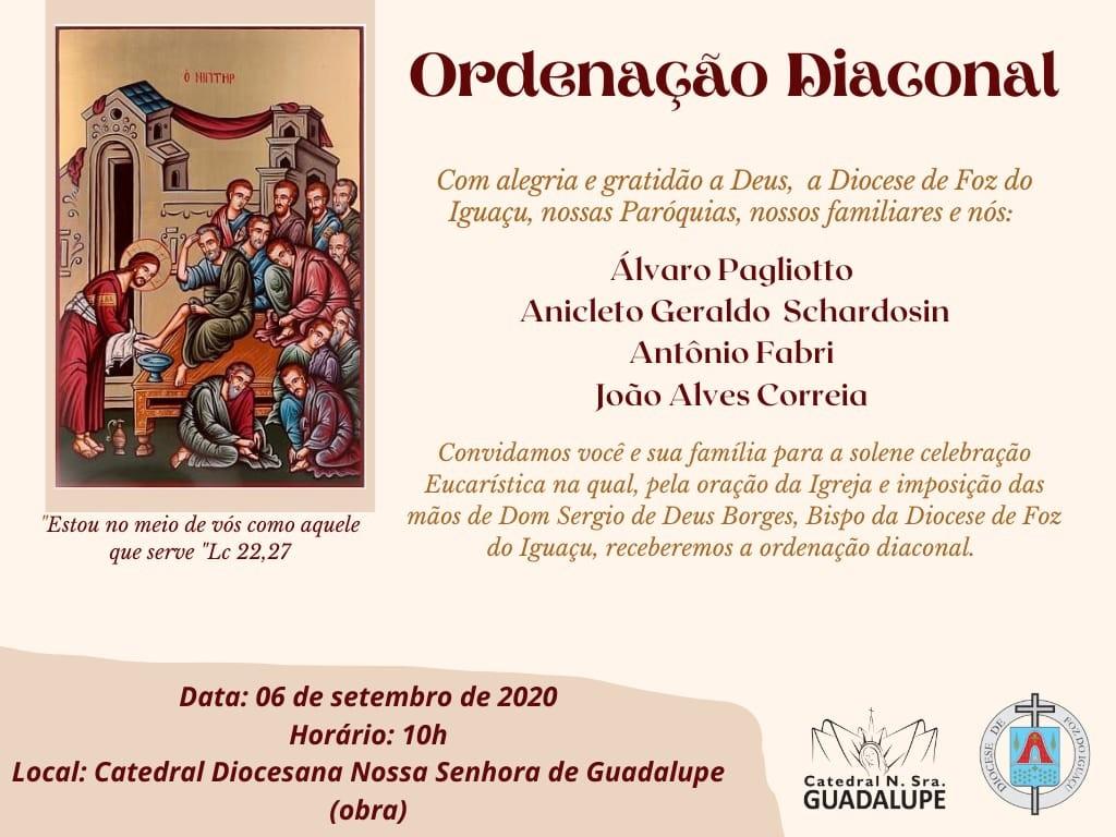 Convite para Ordenações Diaconais na Diocese de Foz do Iguaçu (PR)