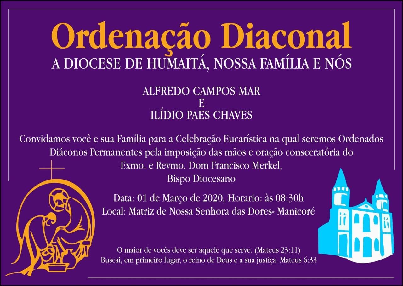 Convite de Ordenações Diaconais da Diocese de Humaitá (AM) - CRD Noroeste