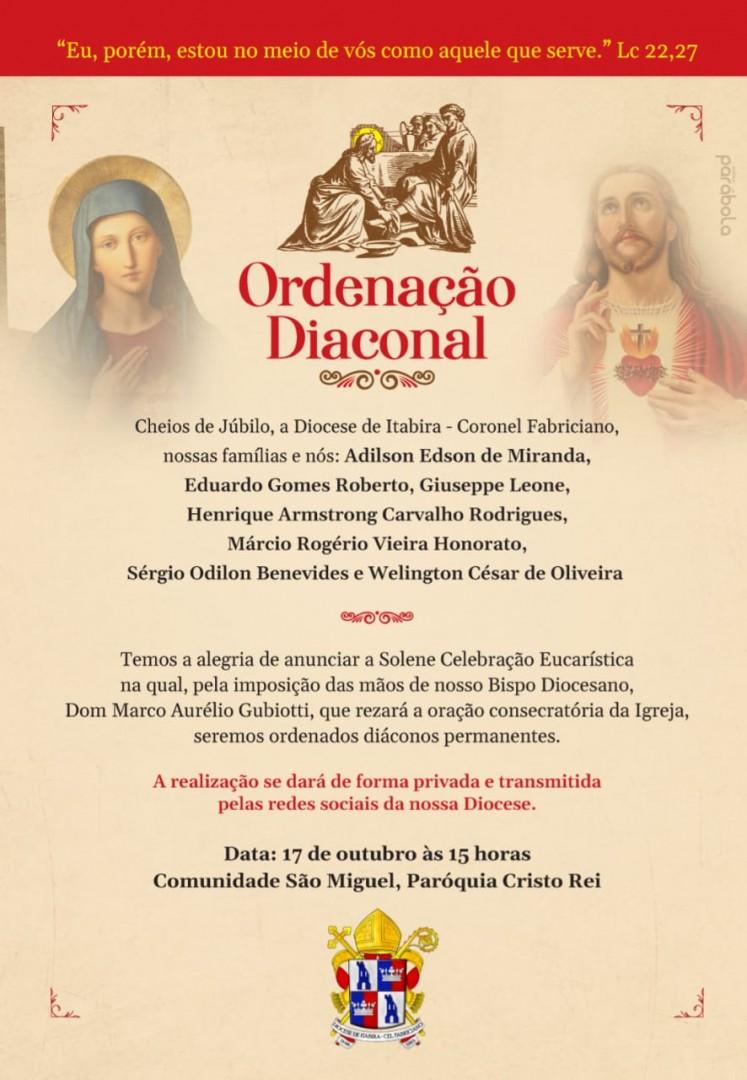 Novas Ordenações Diaconais na Diocese de Itabira - Coronel Fabriciano (MG)