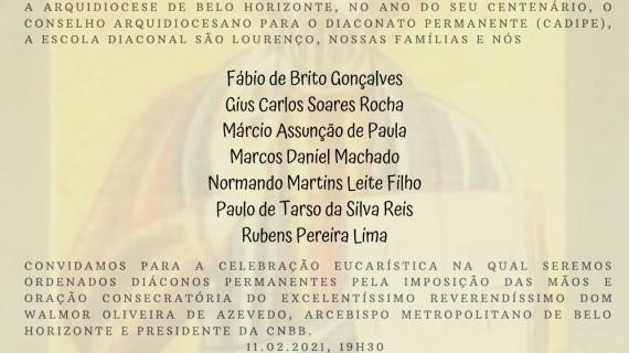 Convite para Ordenações Diaconais na Arquidiocese de Belo Horizonte (MG)