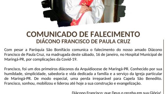 Nota de Falecimento da Arquidiocese de Maringá (PR)